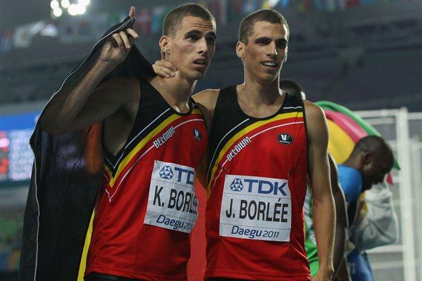 Kevin Borlee (L) of Belgium celebrates with his brother Jonathan Borlee after claiming bronze in the men's 400 metres final  (Getty Images)