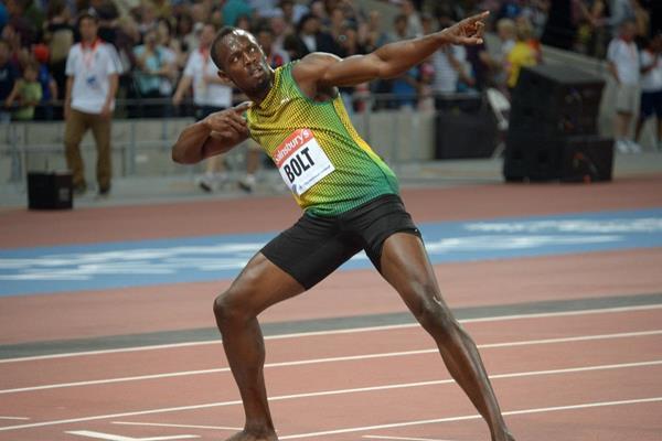 Usain Bolt at the 2013 IAAF Diamond League meeting in London (Kirby Lee)