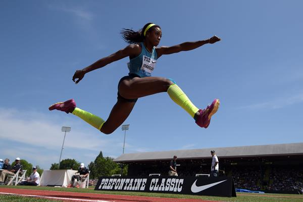 Caterine Ibarguen at the 2015 IAAF Diamond League meeting in Eugene (Kirby Lee)