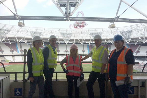 Sylvia Barlag, Paul Hardy, Cherry Alexander and Niels de Vos at London's Olympic Stadium (IAAF)