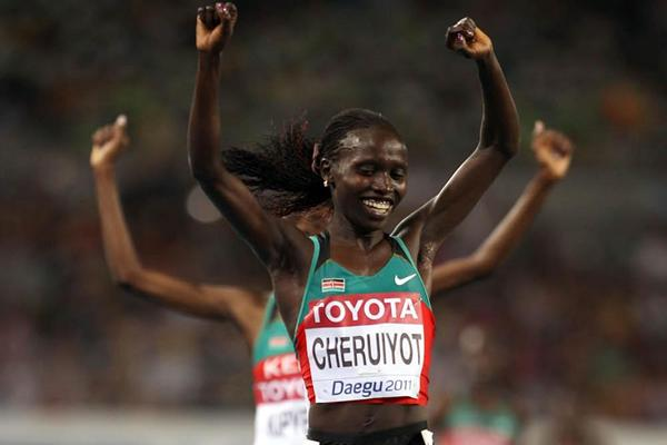 Vivian Cheruiyot of Kenya celebrates winning the women's 10,000m final in Daegu (Getty Images)