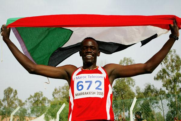Abdulagadir Idriss of Sudan celebrates his victory in the Boys' 400m Hurdles final at the World Youth Championships (Getty Images)