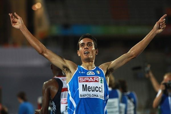 Daniele Meucci taking European 10,000m bronze in Barcelona (/Bongarts)