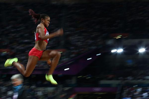 Janay Deloach of the United States jumping for bronze medal in the Women's Long Jump Final on Day 12 of the London 2012 Olympic Games at Olympic Stadium on August 8, 2012 (Getty Images)