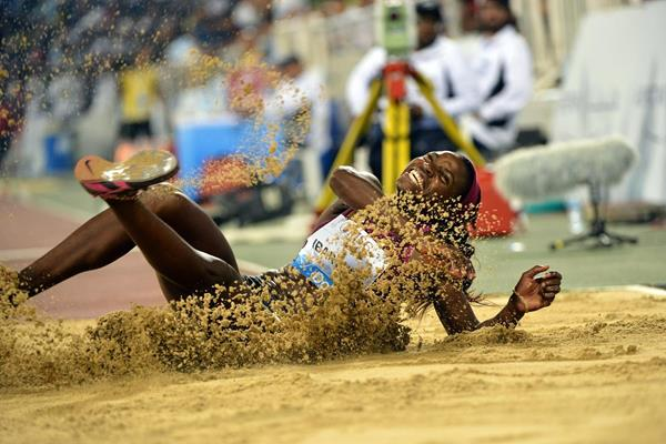 Caterine Ibarguen at the 2014 IAAF Diamond League meeting in Doha (Deca Text & Bild)