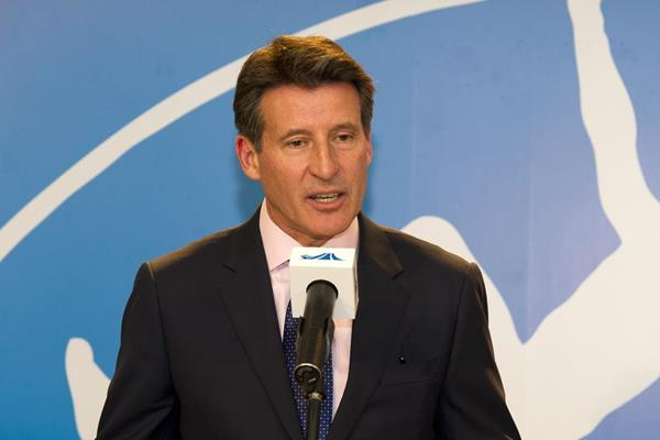 Lord Sebastian Coe in Shanghai ahead of the 2014 IAAF Diamond League meeting (Errol Anderson)