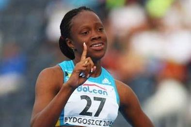 Sheniqua Ferguson of Bahamas celebrates her gold medal in the 200m at the 2008 IAAF World Junior Championships (Getty Images)