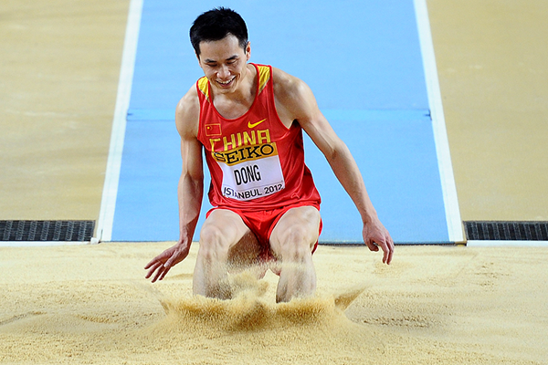 Chinese triple jumper Dong Bin in action at the IAAF World Indoor Championships (AFP / Getty Images)