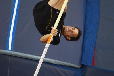 Renaud Lavillenie of France on his way to winning the Pole Vault in Monaco (Freelance)