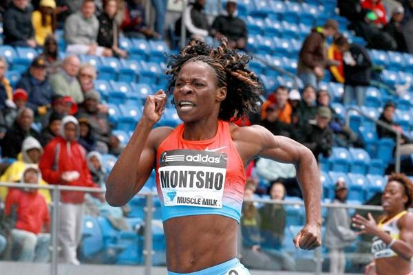 Amantle Montsho winning over 400m at the 2013 IAAF Diamond League in New York (Victah Sailer)
