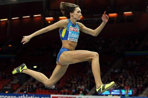 Olha Saladuha leaps to a world-leading 14.88m to win the European indoor Triple Jump title (Getty Images)