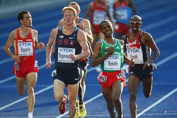 (L-R) Spain's Jesús España, USA's Matthew Tegenkamp, Ethiopia's Kenenisa Bekele and Great Britain's Mohammed Farah compete in the first of the men's 5000m heats in Berlin (Getty Images)