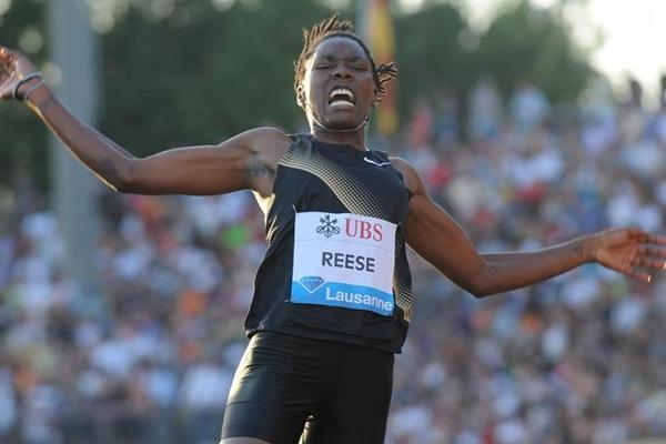 Brittney Reese winning her Diamond League debut in Lausanne (Deca Text&Bild)