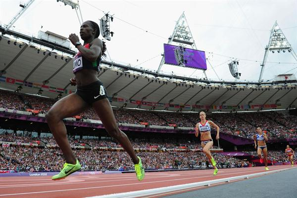 (L-R) Pamela Jelimo of Kenya, Lynsey Sharp of Great Britain and Eleni Filandra of Greece compete in the Women's 800m Round 1 Heats on Day 12 of the London 2012 Olympic Games on 08 August 2012 (Getty Images)