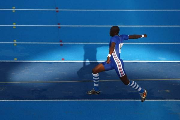 Teddy Tamgho of France on his way to winning gold in the Triple Jump (Getty Images)