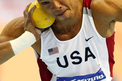 Bryan Clay competes in the pentathlon shot (Getty Images)