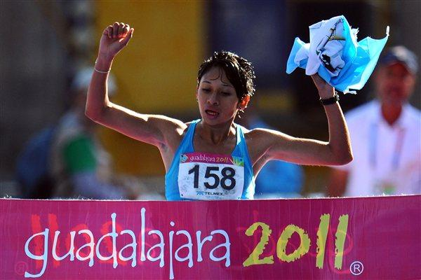 Jamy Franco ends a long Guatamalan gold medal drought with her Pan American Games 20Km Race Walk victory in Guadalajara (Getty Images)