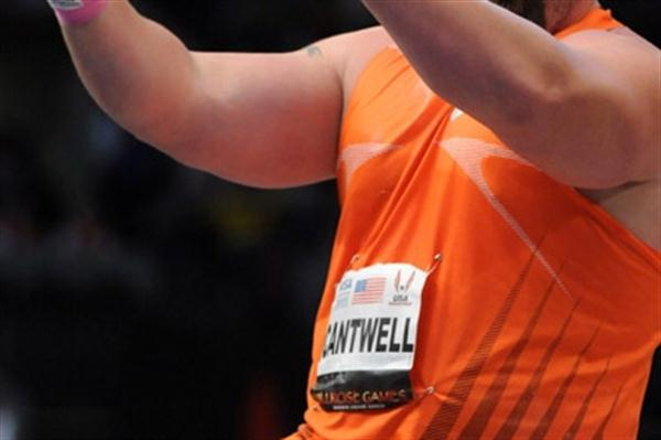 Christian Cantwell roars away his shot in the 2010 Millrose Games (Kirby Lee)