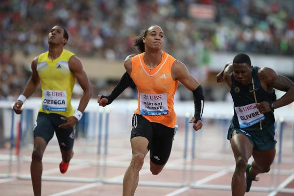 Pascal Martinot-Lagarde winning the 110m hurdles at the 2014 IAAF Diamond League meeting in Lausanne (Giancarlo Colombo)