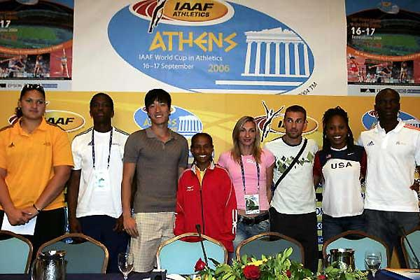 Star Athlete guests at the IAAF Press conference - Vili, Robles, Xiang, Defar, Halkia, Iakovakis, Richards, Obikwelu (Getty Images)