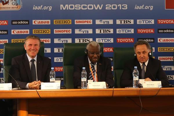 IAAF Press Conference, Moscow 2013 - Aug 18 - PHOTO l to r: Essar Gabriel, Sergey Bubka, Lamine Diack Vitaly Mutko, Valentin Balakhnichev  (IAAF)