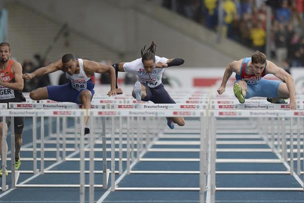 Sergey Shubenkov (right) defeats William Sharman (left) and Pascal Martinot-Lagarde (centre) in the 110m hurdles at the European Team Championships (Getty Images)