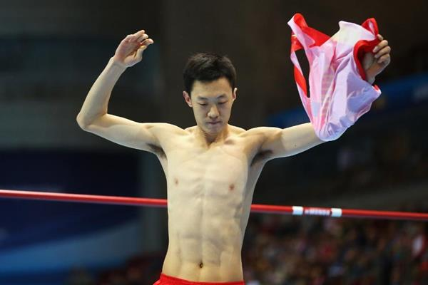 Zhang Guowei in the high jump at the 2014 IAAF World Indoor Championships in Sopot (Getty Images)