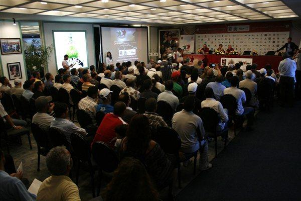 A packed press conference room greeted Blanka Vlasic in Rabat (Bob Ramsak)