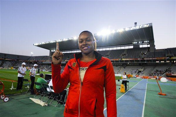 Shanice Craft of Germany celebrates winning the women's Shot Put at the Barcelona World Juniors (Getty Images)