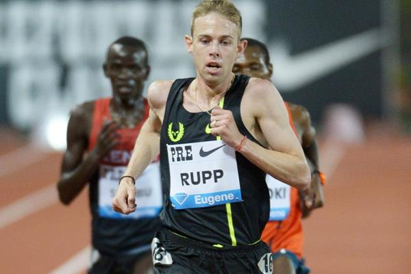 Galen Rupp on his way to setting a US 10,000m record at the IAAF Diamond League meeting in Eugene (Kirby Lee)