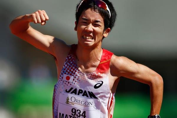 Japan's Daisuke Matsunaga wins the 10,000m race walk at the IAAF World Junior Championships, Oregon 2014 (Getty Images)