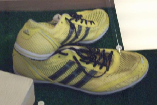 Iryna Lishchynskaya's shoes used at the 2008 Olympic Games (Donetsk 2013 LOC)