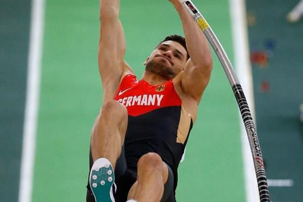 Tim Nowak in the heptathlon pole vault at the IAAF World Indoor Championships Portland 2016 (Getty Images)
