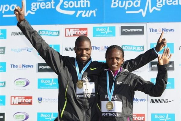 Joseph Ebuya and Grace Momyani winners of the 2010 Bupa Gt South Run (Getty Images)