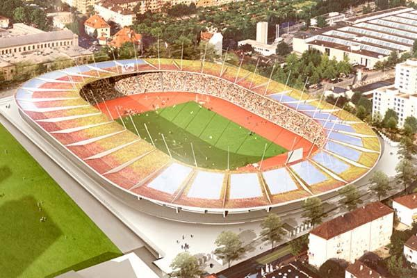 The soon-to-be-completed new Letzigrund Stadium in Zurich (Weltklasse organisers)