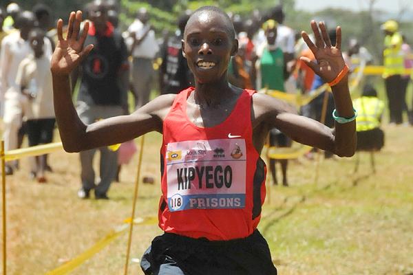 Phillip Kipyeko wins the senior men's race at the Ugandan Cross Country Championships (Namayo Mawerere)