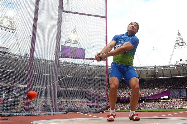 Primoz Kozmus of Slovenia in action during the Men's Hammer Throw qualification on Day 7 of the London 2012 Olympic Games at Olympic Stadium on August 3, 2012  (Getty Images)