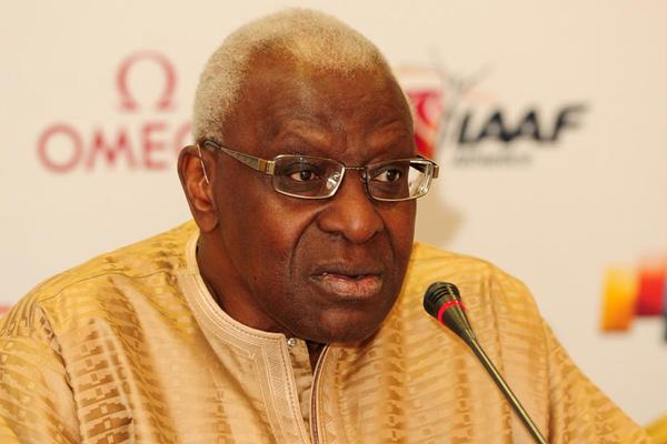 IAAF President Lamine Diack at the Doha 2013 Diamond League press conference (Errol Anderson)