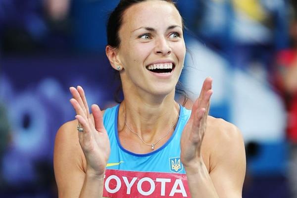 Ukraine's Hanna Melnychenko celebrates her heptathlon victory (Getty Images)