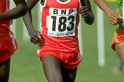 Ismael Kirui (183) of Kenya in action during the 1990 Junior Men's race at the IAAF World Cross Country Championships in Aix-les-Bains, France (Getty Images)