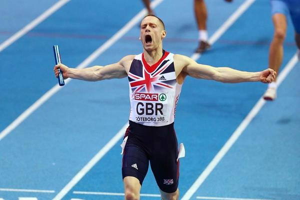 Richard Strachan anchors Britain to gold in the 4x400m at the European Indoor Championships (Getty Images)