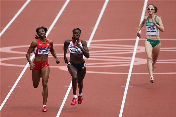 (L-R) Francena McCorory of the United States, Christine Ohuruogu of Great Britain and Joanne Cuddihy of Ireland compete in the Women's 400m Heats on Day 7 of the London Olympic Games on 03 August 2012 (Getty Images)