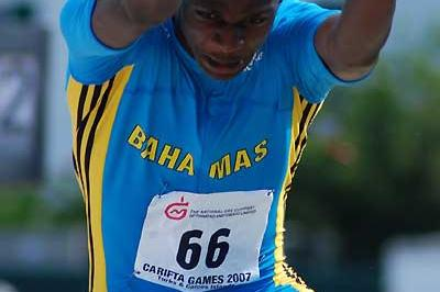 Raymond Higgs of the Bahamas won the boys' Under-17 Triple Jump at Carifta Games (Anthony Foster)