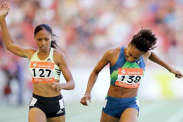 Allyson Felix just holds off a determined Sanya Richards in Stuttgart (Getty Images)