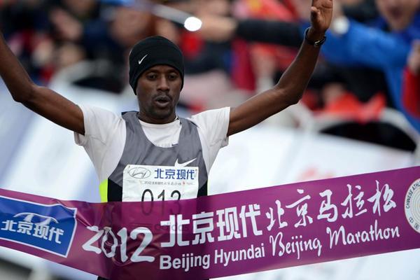 Tariku Jufar winning the 2012 Beijing Marathon (Beijing Marathon organisers)
