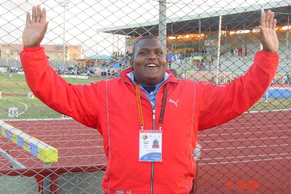Ibrahim Yasser Fathy of Egypy winner of the men's Shot Put in Mauritius (Mark Ouma)