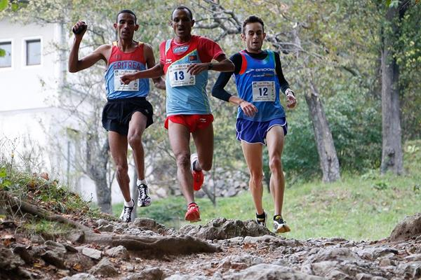 the men's race leaders during the 2013 International Smarna Gora Mountain Running Race (WMRA)