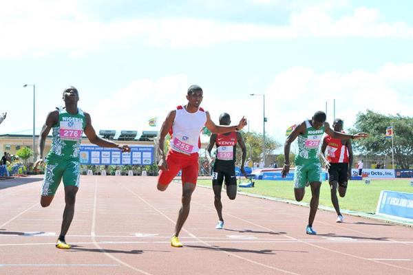 Nigeria's Divine Oduduru, winner of the 200m at the 2013 African Junior Championships ()