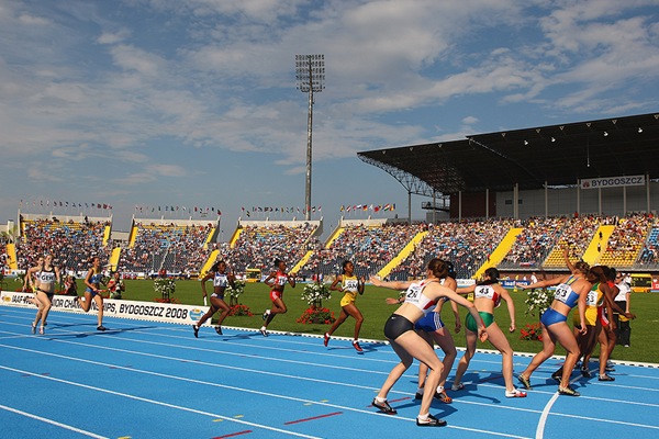 The women's 4x400m relay at the IAAF World Junior Championships Bydgoszcz 2008 (Getty Images)