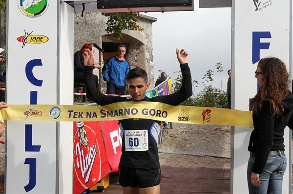 Ahmet Arslan winning the 2010 Šmarna Gora Mountain Race (Tomo Šarf)